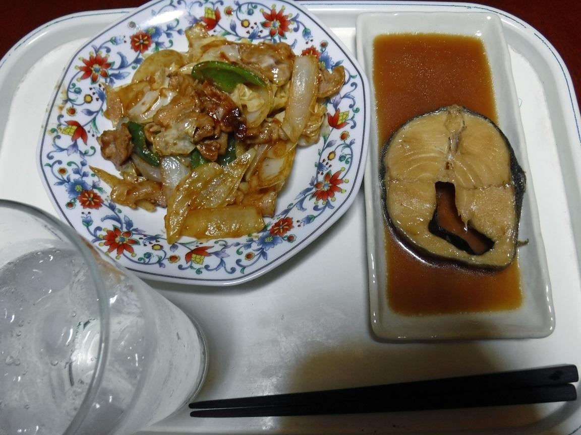 ブログ 夕食  煮魚と中華風の焼肉.jpg