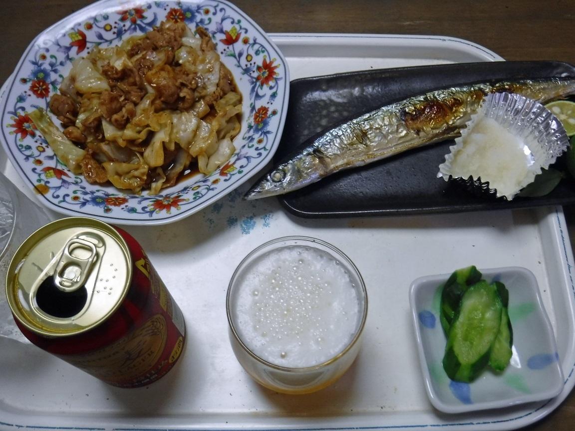 ブログ 夕食  回鍋肉とサンマ定食.jpg
