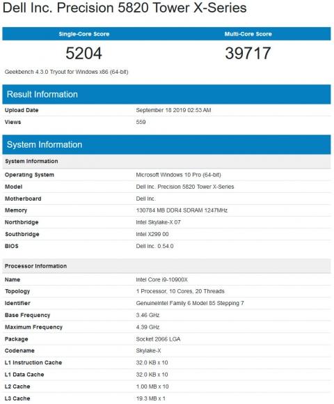 Core i9 10900X (2019年9月19日)