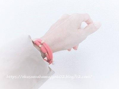 ピンクシルクリボンブレスレット