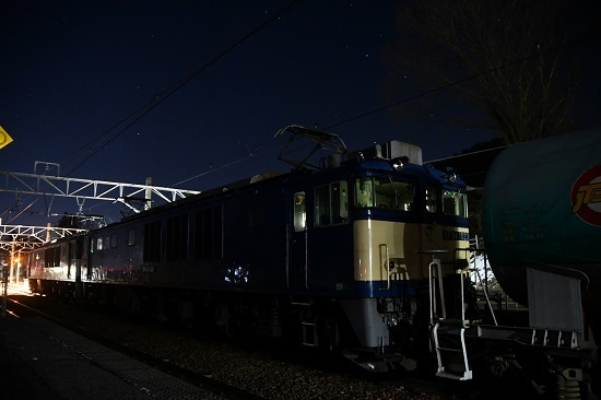 2020年2月1日撮影 西線貨物8885レ 洗馬駅にてバルブ撮影