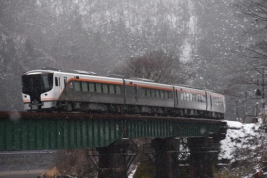2020年2月23日撮影 高山本線 HC85系試運転 飛騨細江の先