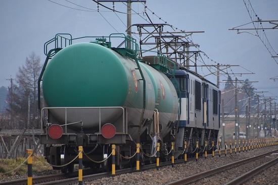 2019年12月22日撮影 西線貨物8084レ 後撃ちして緑タキ2両