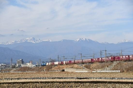 2019年12月15日撮影 東線貨物2083レ 穂高連峰バックに