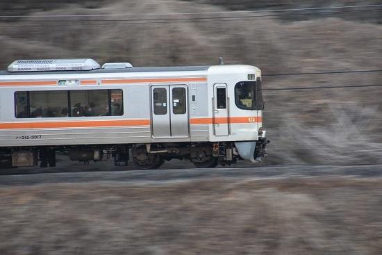 2020年1月12日撮影 飯田線 1415M 313系先頭を流し撮り
