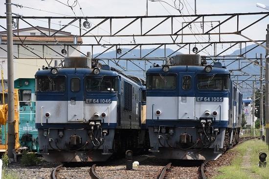 2019年8月24日撮影 EF64-1046号機(広島更新色)と1005号機