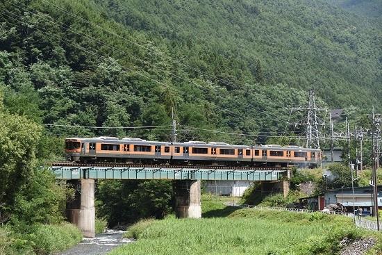 8月24日撮影 回9854M 313系8000番台 木曽平沢鉄橋