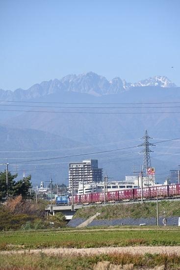 2019年11月5日撮影 東線貨物2083レ後撃ちにて前穂高岳と