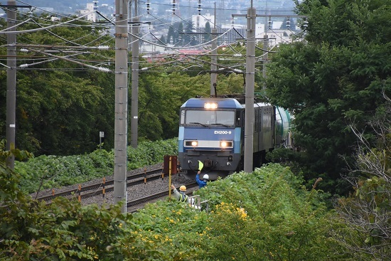 2019年8月28日 東線貨物2080レと旗振り