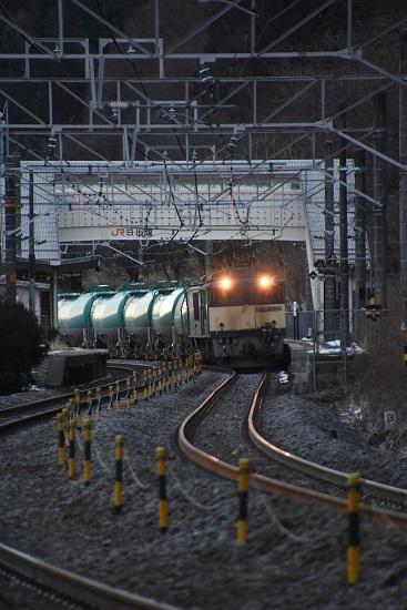 2020年2月1日撮影 西線貨物6088レ 日出塩駅に姿を現す