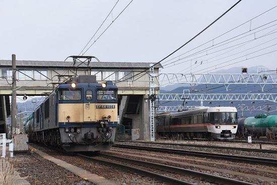 2020年2月8日撮影 南松本にて西線貨物8084レと383系 WVしなの