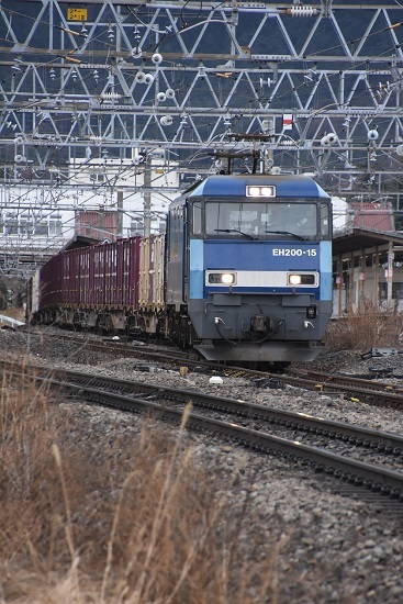 2020年2月8日撮影 東線貨物2083レ EH200-15号機 塩尻駅通過