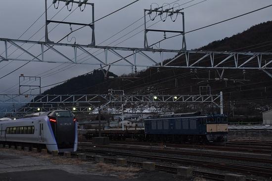 2020年2月11日撮影 塩尻大門にてEF64-37号機とE353系あずさ2号