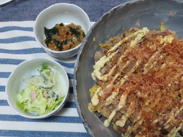 豚バラと卵のキャベツ焼き