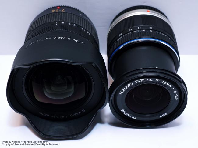 LUMIX G VARIO 7-14mm / F4.0 ASPH.とM.ZUIKO DIGITAL ED 9-18mm F4.0-5.6 外観比較4