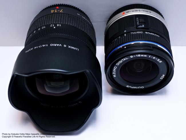 LUMIX G VARIO 7-14mm / F4.0 ASPH.とM.ZUIKO DIGITAL ED 9-18mm F4.0-5.6 外観比較3