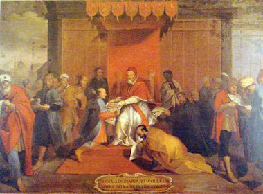 天正遣欧少年使節伊東マンショとグレゴリウス13世の謁見の場面