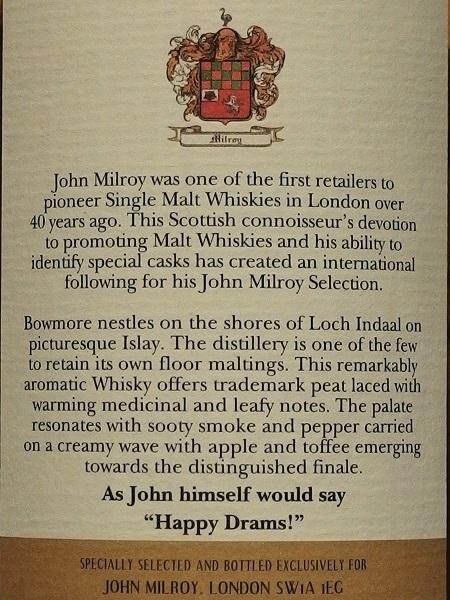 John Milroy Selection BOWMORE 1987-2009 21y_ura600