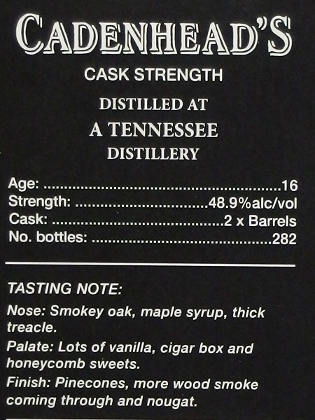 Cadenhead Small Batch A TENNESSEE 16yo_ura600