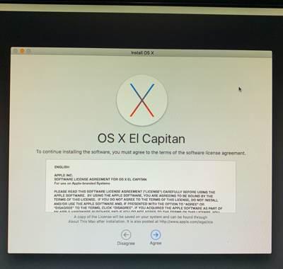 EL Capitanインストール画面