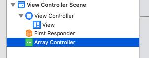 NSArrayController追加後の画面