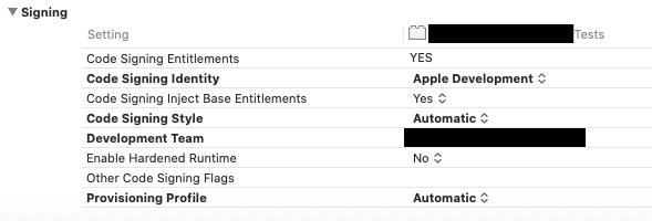 XcodeのCode Signing Entitlementsの画面