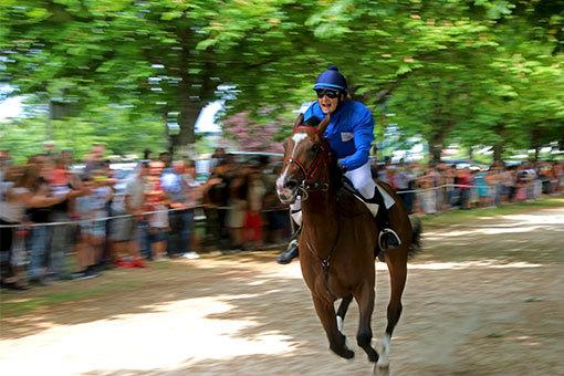 指輪祭り メインレース 目の前を疾駆する青い勝負服