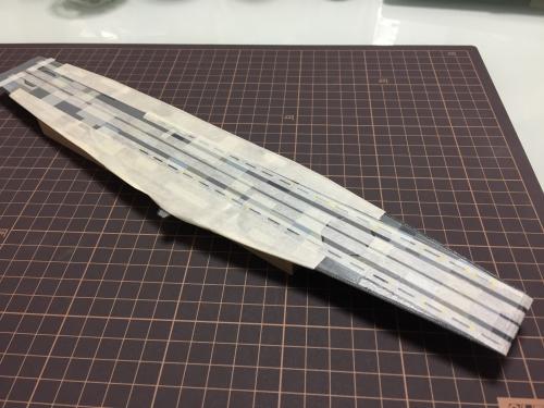 航空母艦 信濃 甲板 白線引き工程IMG_6938◆模型製作工房 聖蹟