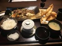 牛肉野菜炒め海鮮天婦羅定食191201