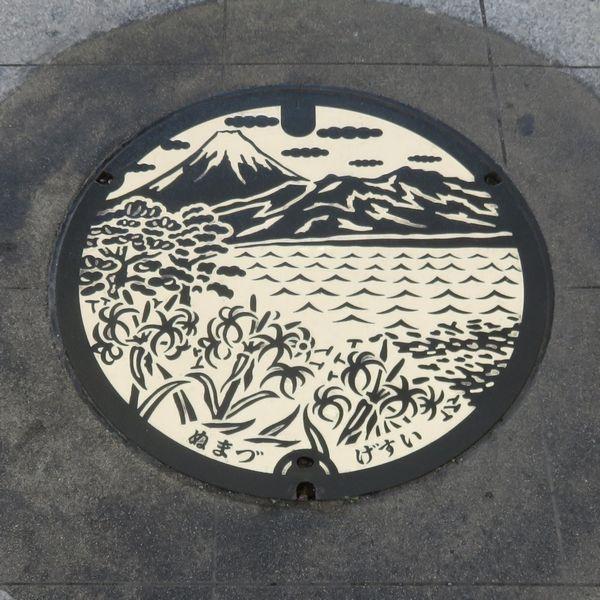 沼津市のマンホール(イラスト白色版)