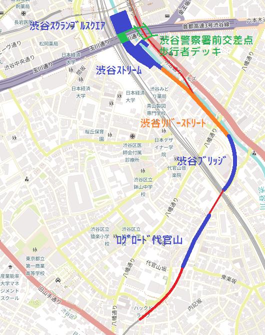 東急東横線渋谷~代官山間の跡地利用図