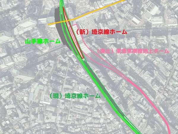 JR渋谷駅山手線・埼京線新旧ホームの位置