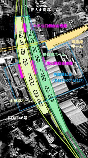 ホーム移設後の階段・エレベーター・自由通路配置(予定)と周辺施設との関係