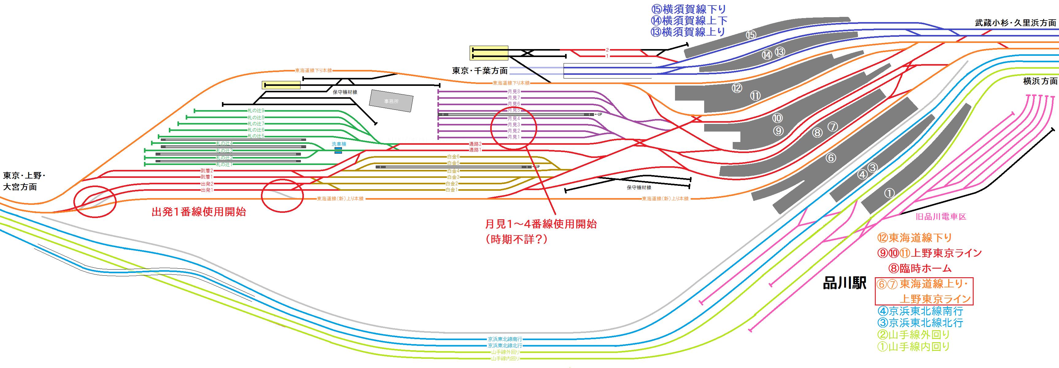 2016年11月以降の品川駅構内配線図