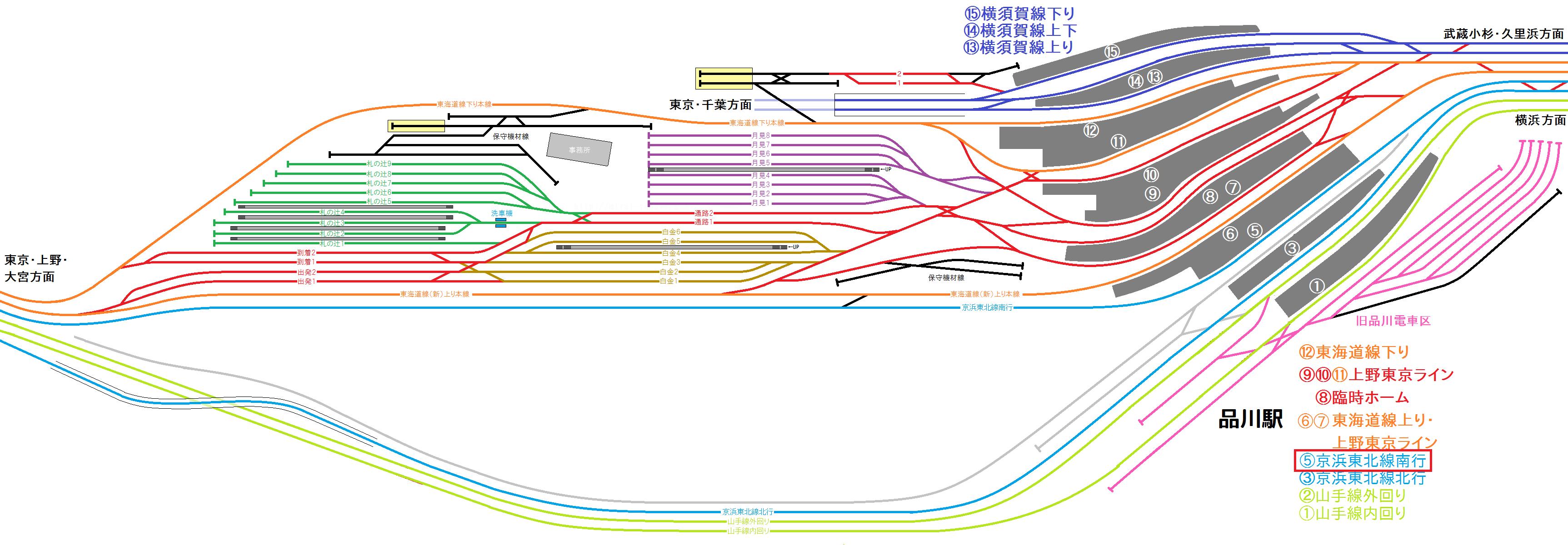 2018年6月以降の品川駅構内配線図