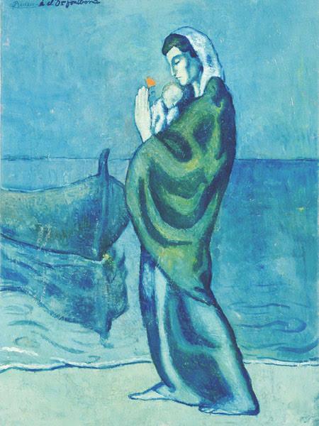 海辺の母子像