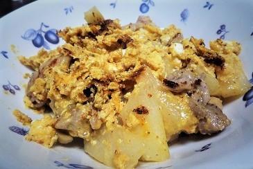 鶏肉と山芋マヨ卵炒め