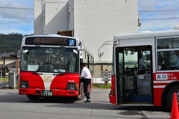 2019年10月20日 上田電鉄別所線 下之郷 電車代行バス 上田バスI-032号車