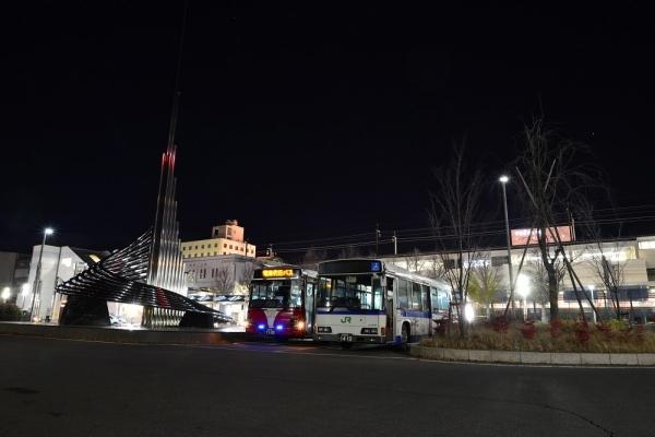 2019年11月20日 上田電鉄別所線 上田 電車代行バス 上田バスI-032号車/JRバス関東 L427-02506号車