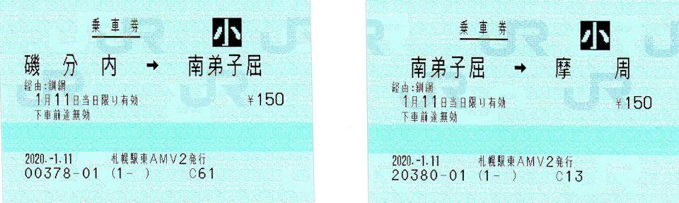 磯分内→南弟子屈→摩周