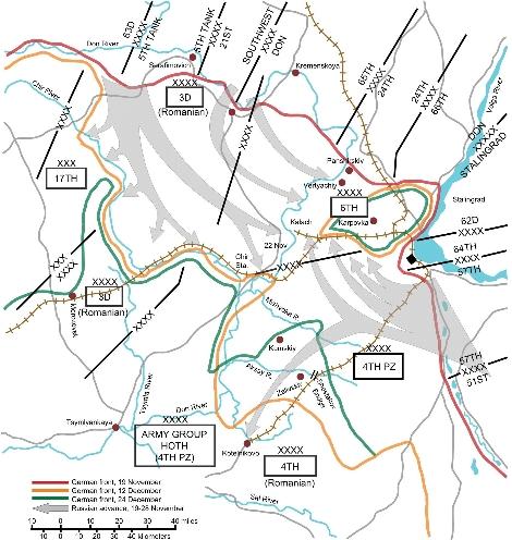 1942年スターリングラード防衛線推移