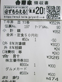 吉野家弁当レシート2020.2