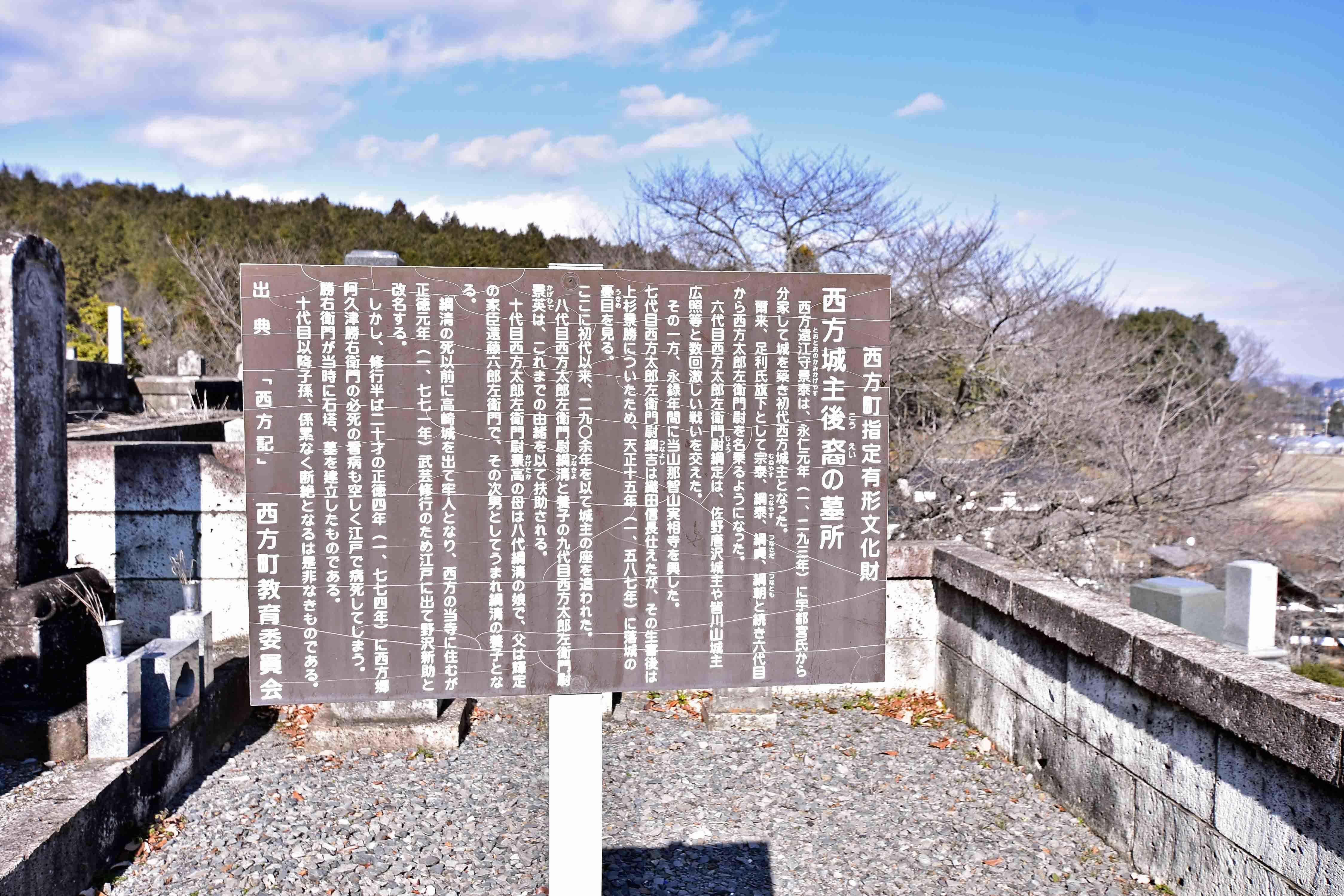 西方藩主後裔の墓 説明板