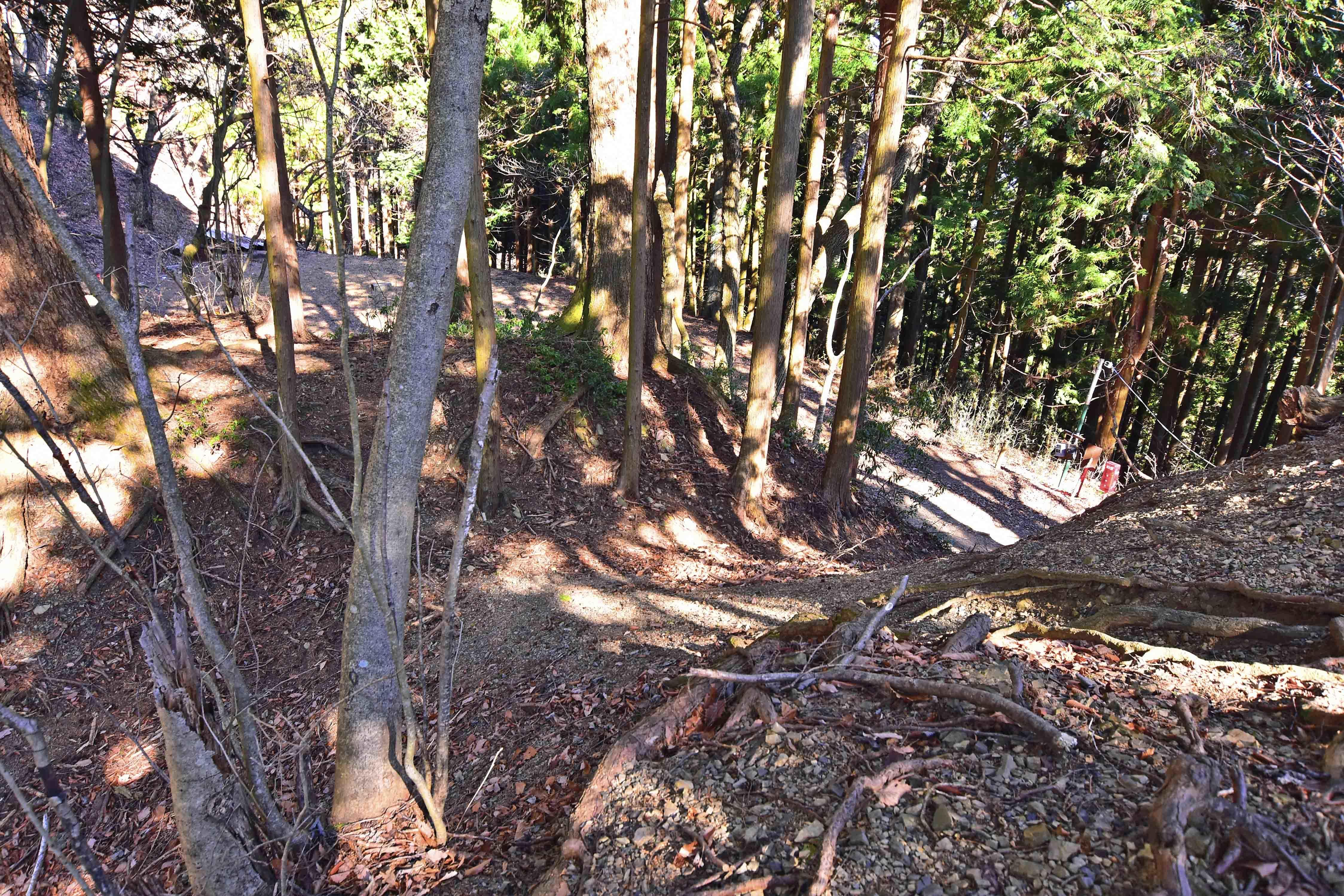 御嶽城 ビジタ-センタ-手前堀切 斜め上から