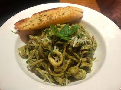Make Your Own Pasta (Spaghetti + Basil Pesto + Seafood)