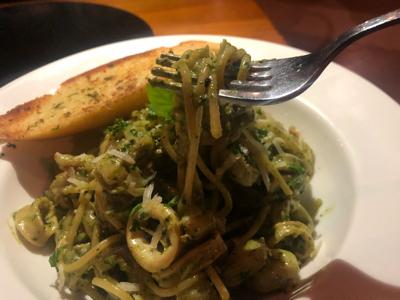 Spaghetti + Basil Pesto + Seafood