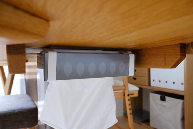セリア・ランチベルト シリコン・ダイニングテーブル下・ティッシュ収納①
