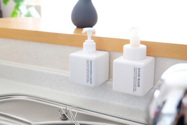 無印・PET詰替ボトル ホワイト 250ml用・キッチン・シンク・洗剤ボトル収納①