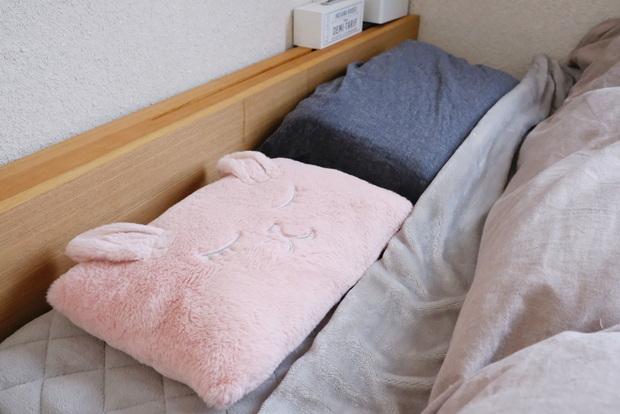 マイクロファイバー・パッド一体型ボックスシーツ・寝室・ベッド・ニトリ・枕にもなるクッション①