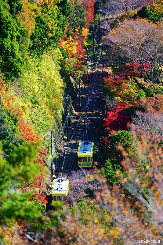 絶景探しの旅 - 絶景写真No.1160 すれ違う高尾山ケーブルカー (東京都 八王子市)
